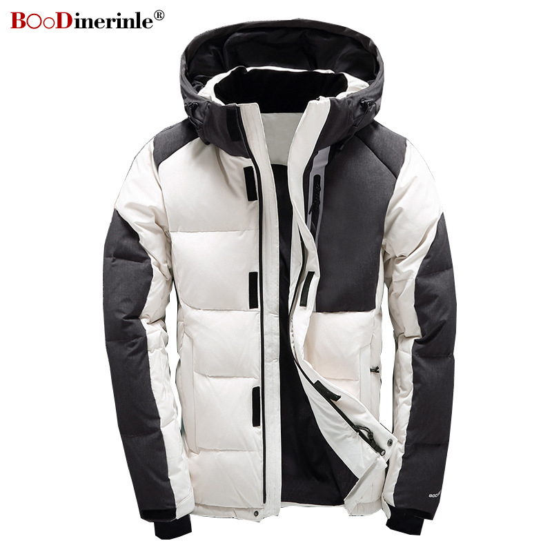 BOoDinerinle 2019 Winter Men's Down Jacket High-end Casual Thicken White Duck Down Jackets Men Stitching Warm Hooded Jacket