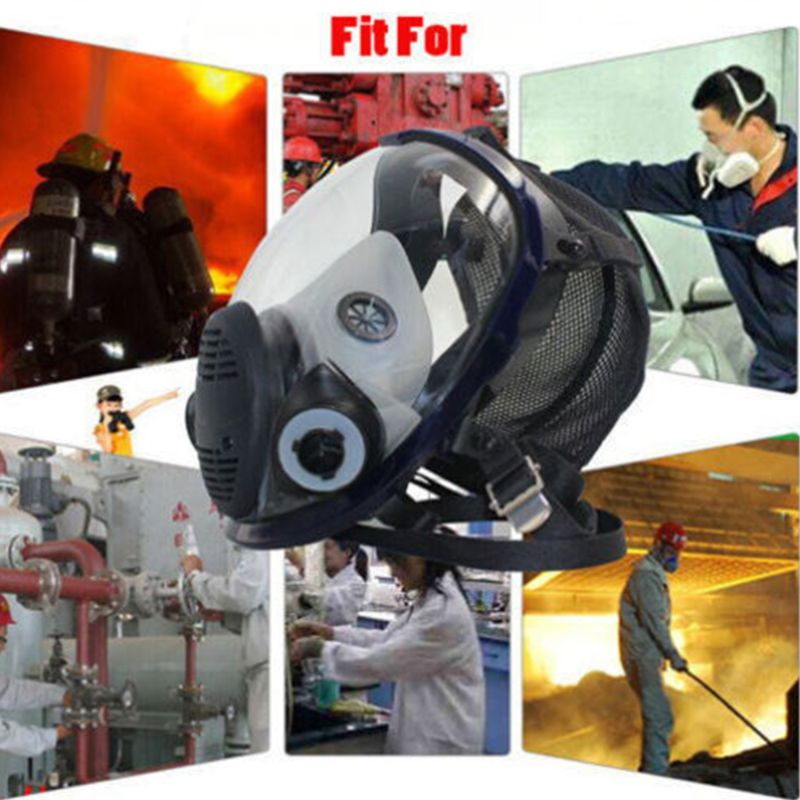 Facepiece Respirator Kit Full Face Gas Mask For Painting Spray Pesticide Chemical Fire Protection