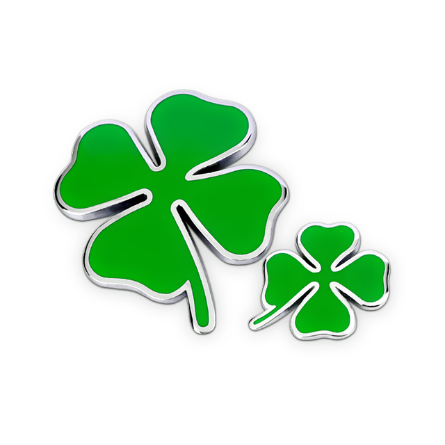 Green Clover Day Badge Alfa Romeo Four Leaf Chrom Metal Car Styling Emblem Sticker Love Healty Glory Riches Lucky Symbol