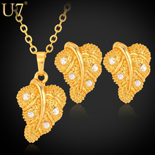 U7 Necklace Router Bit Set Gold Plated Rhinestone Trendy Plant Leaf Necklace Earrings Jewelry Sets For Women S530(China (Mainland))
