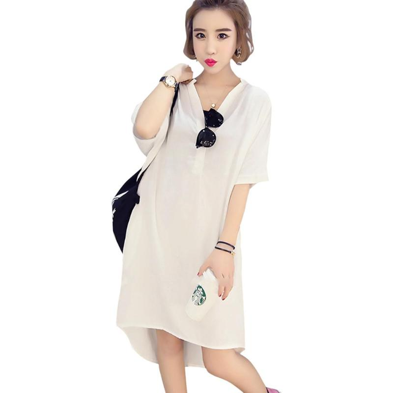 Summer Daily Women Chiffon Dresses Casual V-Neck Solid Color Loose Short Sleeve Clothes Chic Style Korea Pure Color Girls Dress