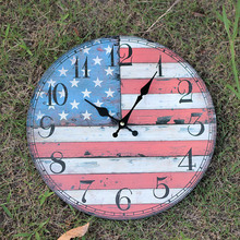 New Creative Livingroom Decor America Flag Mute Wooden Wall Hanging Clock Country Modern Design Wall Clocks