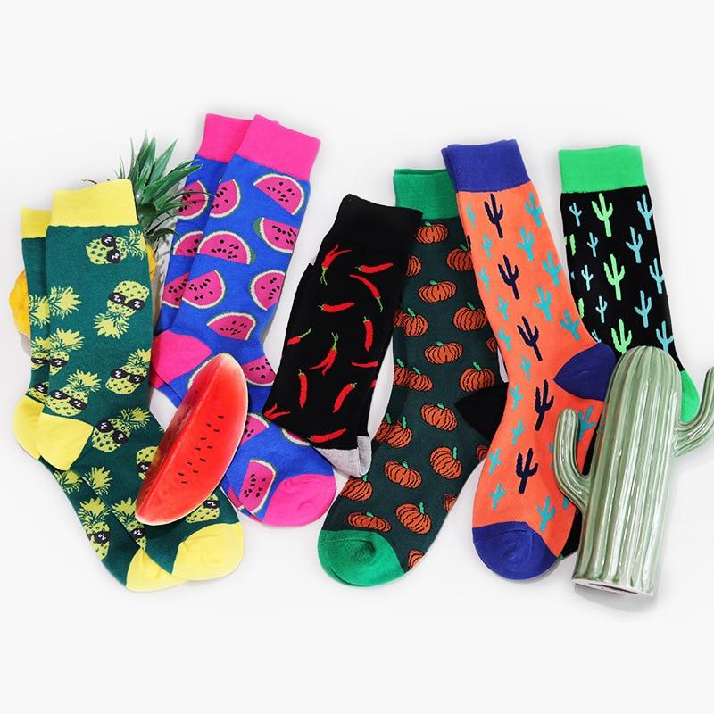 PEONFLY Colorful Cotton Men Socks Funny Food Pineapple Pumpkin Cactus  Harajuku Happy Socks For Christmas Gift