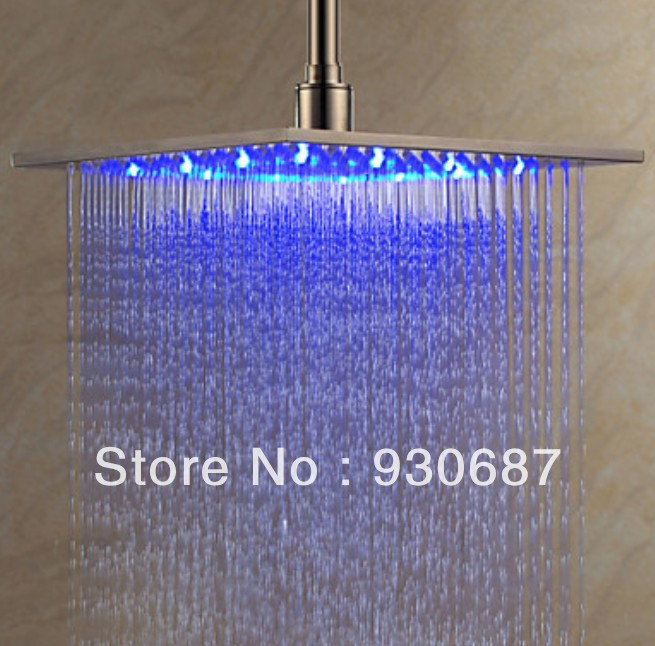 ФОТО Contemporary 12 inch Brushed Nickel Brass Shower Head With Color Changing LED Light