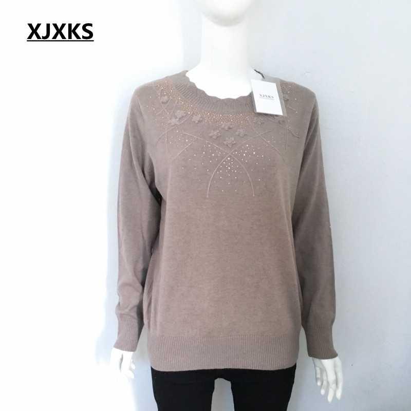 Xjxks Ibu Pakaian 2019 Baru Wanita Pullover Musim Gugur dan Musim Dingin Sweter Longgar Lengan Panjang Rajutan Wol Dasar Shirt Sweater