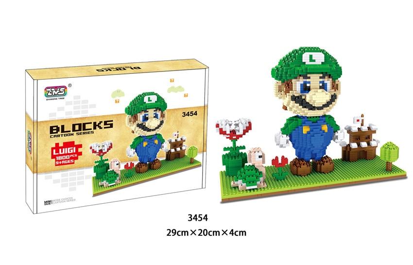 Image 2 - ZMS Game Super Mario Luigi Yoshi Bowser Fire Cat Mario DIY Mini Building Micro Diamond Blocks Brick Kids Toy Flower Coin box-in Blocks from Toys & Hobbies
