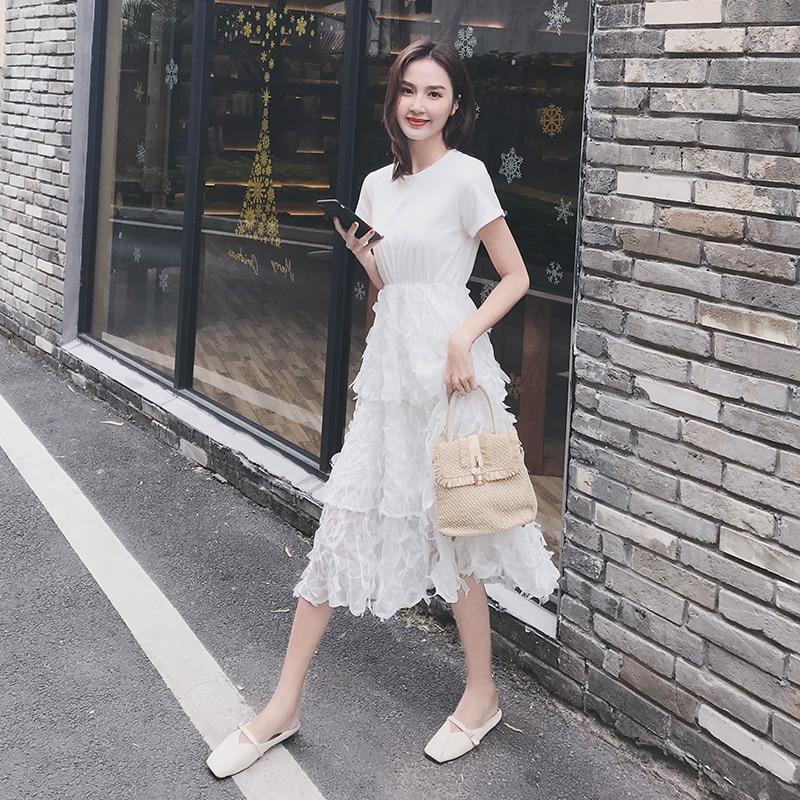2019 Women Tulle dress Fashion Elastic High Waist Mesh Tutu dress Pleated Long Dress Midi dress on promote