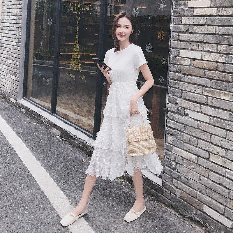 2019 المرأة تول اللباس الأزياء مرونة عالية الخصر شبكة توتو اللباس مطوي فستان طويل ميدي اللباس على تعزيز-في فساتين من ملابس نسائية على  مجموعة 1
