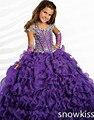 Haute couture sparkly театрализованное платье с кристаллами блеск Цветок Девочки Платья дети фрок дизайн плиссированные вечерние бальные платья