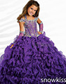 Haute couture sparkly pageant dress with crystals glitz Flower Girl Dresses kids frock designs pleated evening ball gowns