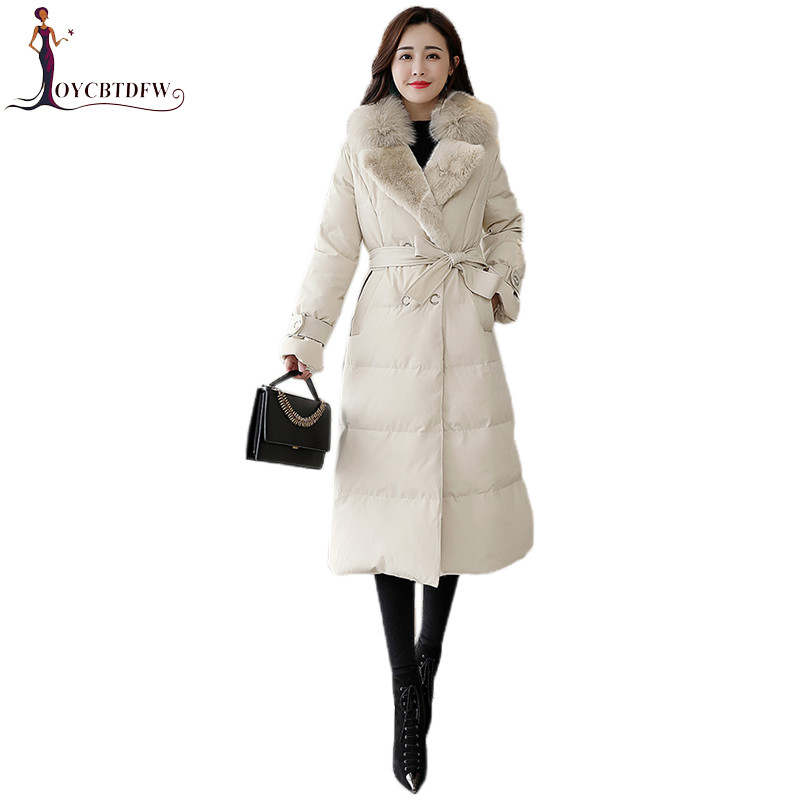 Winter Female   Down   Jacket 2018 New Fashion bundle Waist Outerwear   Coats   Korean Large Size Long Big fur collar Female parkas X796