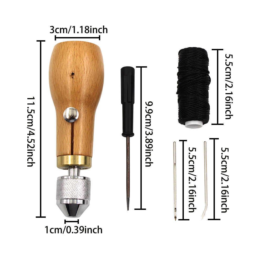Priem lederen naaien tool DIY handleiding naaimachine lederen craft rand stiksels riem schoenmaker canvas reparatie tool
