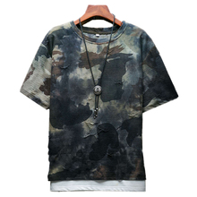 2018 Summer Camo Worn Men's Short-sleeved T-shirt Large Size 5XL Fashion Casual Mens T Shirt Loose and Comfortable Cool Left Rom