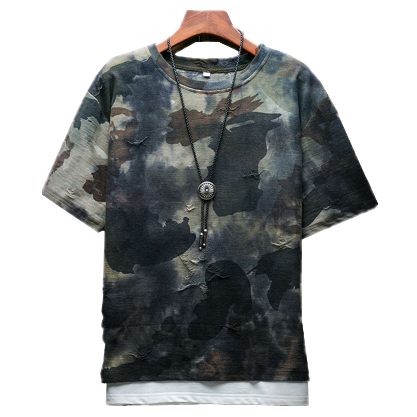 2018 Summer Camo Worn Men's Short-sleeved   T  -  shirt   Large Size 5XL Fashion Casual Mens   T     Shirt   Loose and Comfortable Cool Left Rom