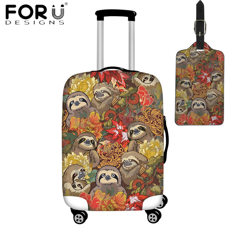 FORUDESIGNS Suitcase Protective Covers Floral Flower Sloth Print 2pcs/set Travel Accessories Luggage Cover Luggage Tag Dustproof