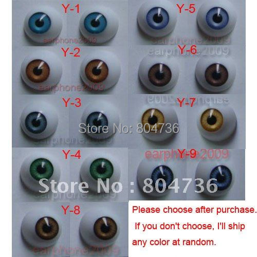 9 Pair 20mm HALF ROUND ACRYLIC REBORN DOLL EYES for Reborn/BJD/OOAK Doll eyes