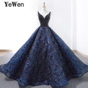 Image 1 - Sexy bleu Royal longue robe de soirée 2020 nouveauté Court Train perlé dentelle de noël Occasion spéciale robes de bal sur mesure