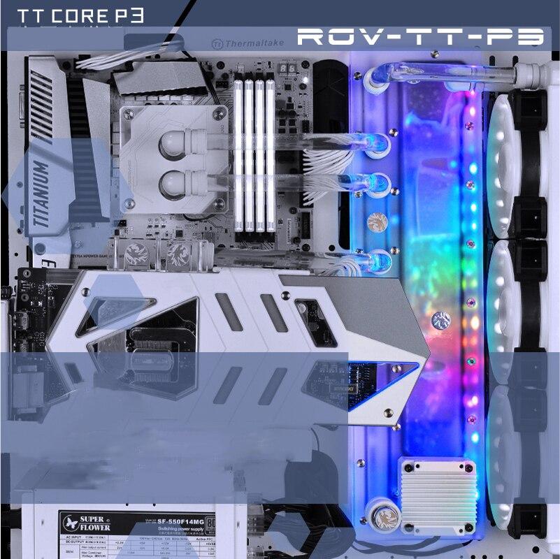 BYKSKI Acrilico Bordo Canale di Acqua Soluzione uso per ThermalTake/Tt Core P3 per CPU GPU di Blocco/3PIN RGB /invece di Serbatoio