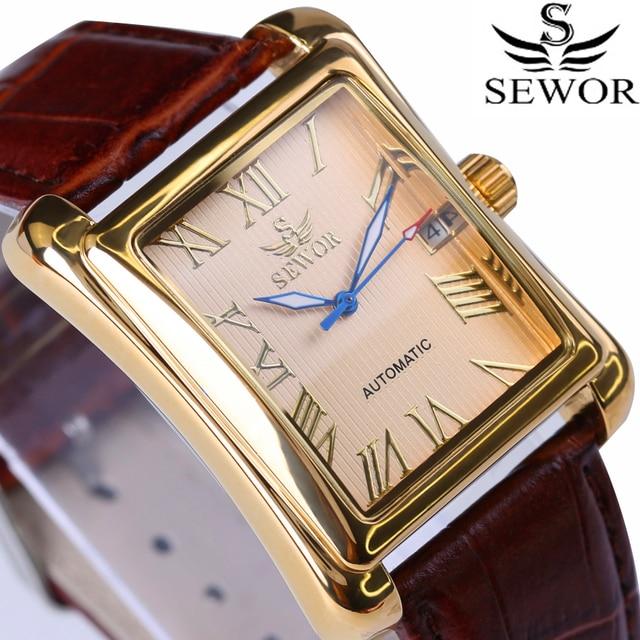 146952f4ed7 Novo SEWOR Homens Retangulares Relógios Top Marca de Luxo Relógio Mecânico  Automático Exibição Roman Relógio Antigo