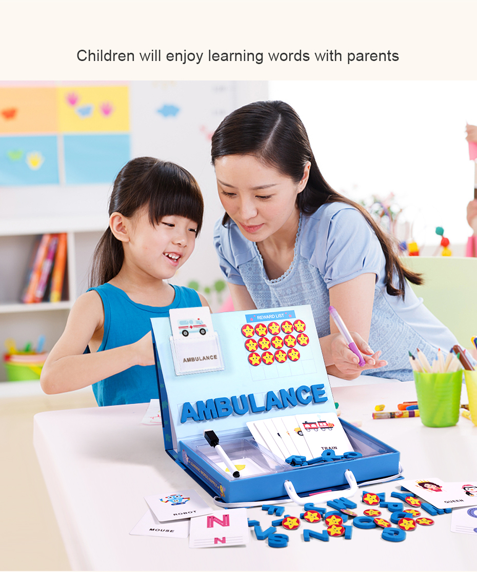 Learning English Sight Words Puzzles Card Spelling Magnetic Alphabet Letters Game Early Learning Educational Toys For kids Gifts930_27