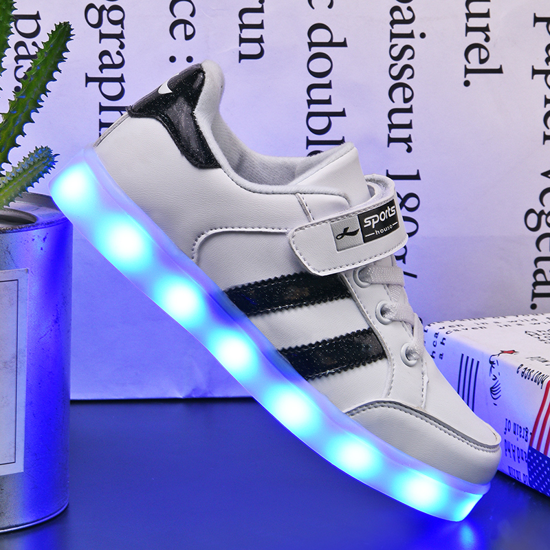 kids Led usb charging glowing Sneakers Children hook loop Fashion luminous shoes for girls boys men women skate shoes #25-37kids Led usb charging glowing Sneakers Children hook loop Fashion luminous shoes for girls boys men women skate shoes #25-37