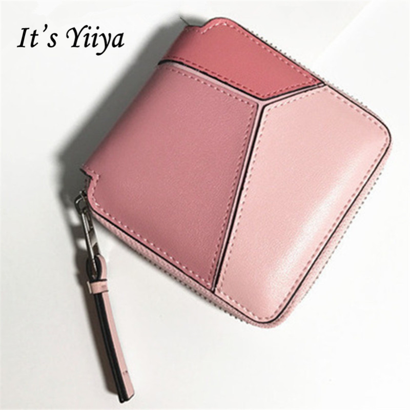 Free Shipping New Fashion Simple Women Genuine Leather Mini Wallets 3 Colors Portable Short Purse Geometric Patchwork Purse Q035