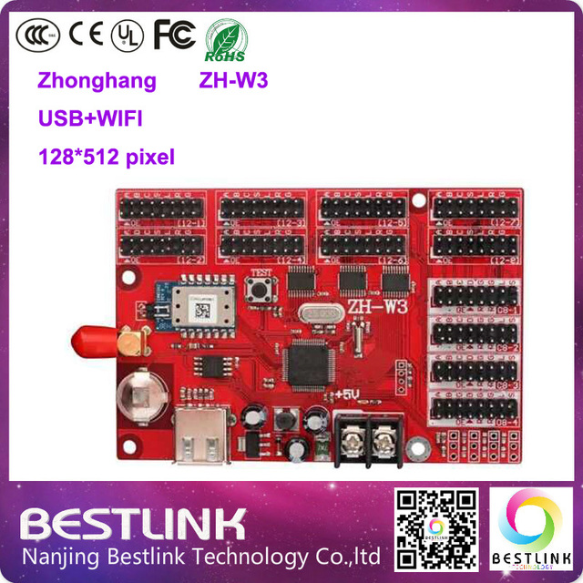 Zhonghang led платы управления ж-w3 128*512 пикселей wi-fi led контроллер карты для p5 p10 p16 открытый светодиодный экран такси вверху знак