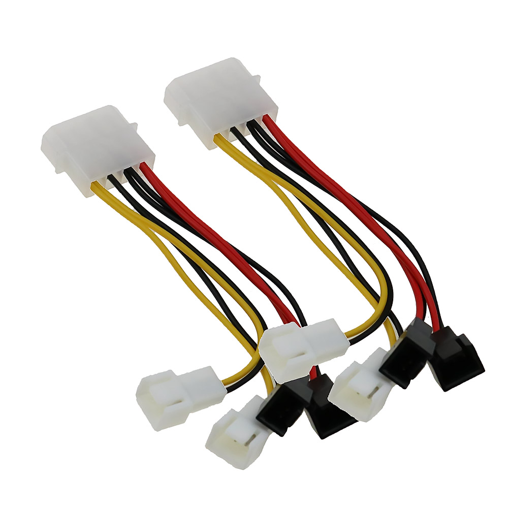 2pc 4-Pin Molex To 3-Pin Fan Power Cable Adapter Connector 12V Computer Cooling Fan Cables For CPU PC Case Fan