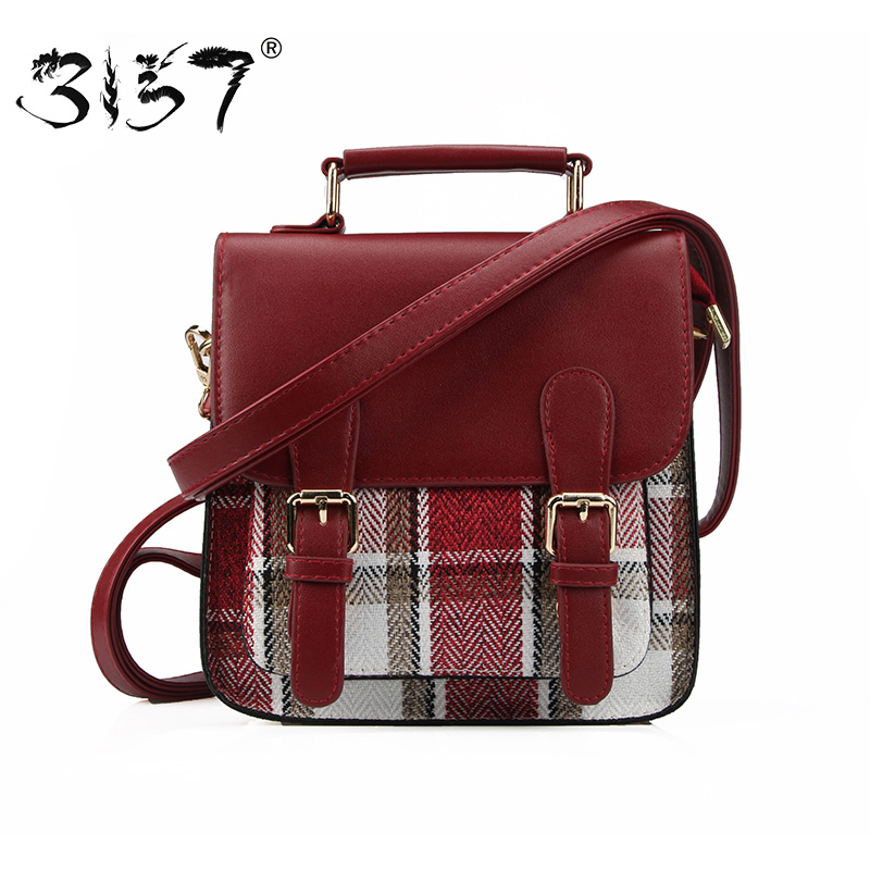 3157 Women Backpack Preppy Style Plaid PU Leather Backpack Vintage School Bags For Teenage Girls Casual Daily Travel Female Bags