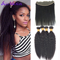 Kinky Straight Lace Frontal Closure With Bundles Brazilian Kinky Straight Hair Weave Yaki Human Hair 3 Bundles With Lace Frontal