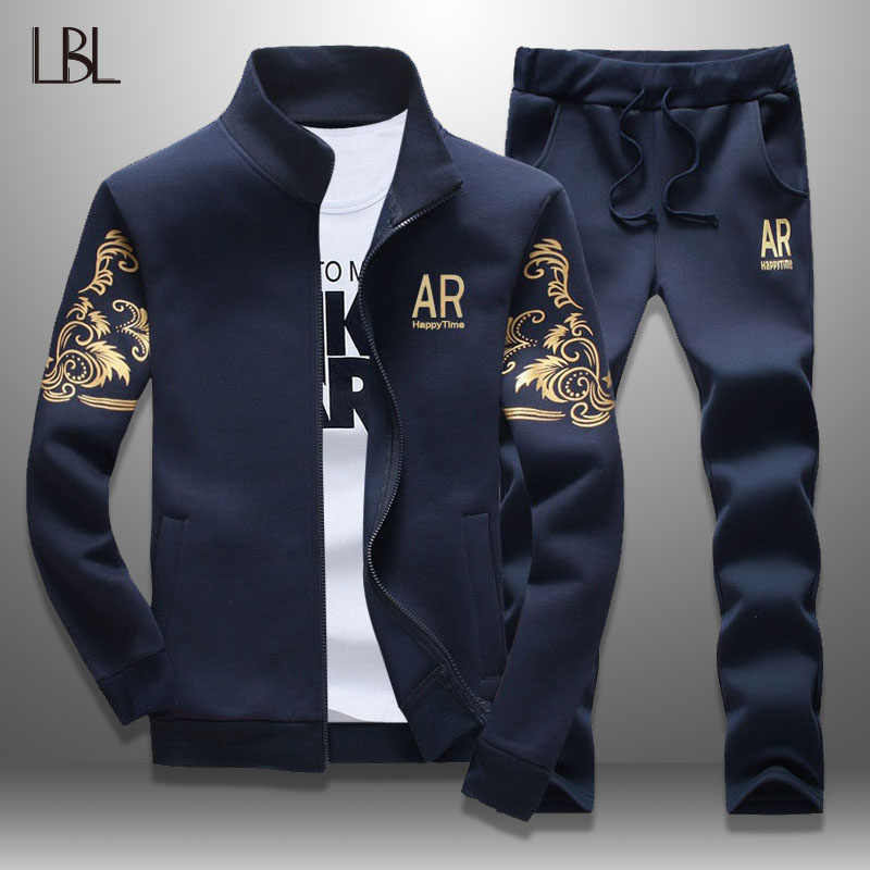 LBL Casual Men Tracksuit Spring 2019 Streetwear Men's Sportswear Jacket + Pants Two Piece Sets Autumn Sweatsuit Brand Clothing