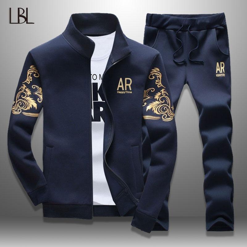 LBL Casual Men Tracksuit Spring 2019 Streetwear Men's Sportswear Jacket + Pants Two Piece Sets Autumn Sweatsuit Brand Clothing