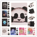 Colorful Painted Panda owl Leather Cover Case for Samsung Galaxy Tab A 9.7 T550 T555 Tablet Fundas case cover+Screen film