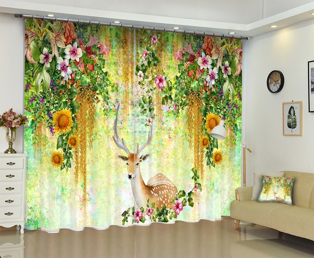 office window curtains cotton deer print modern luxury 3d blackout window curtains drapes for living room bed office hotel