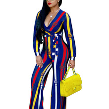 Autumn Elegant Party Striped Jumpsuit Rompers Women Long Sleeve Deep V Neck Belted Sexy Wide legs