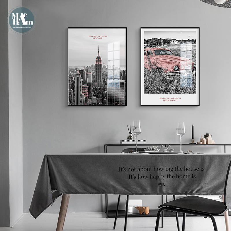 Nordic NEW YORK Black White Building Wall Art Canvas Poster And Print Pink Car Canvas For Living Room Morden Landscape Decor