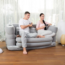 two people seat and 1 space living room bean bag chair, air 2 in 1 foldable inflatable sofa beds and chair