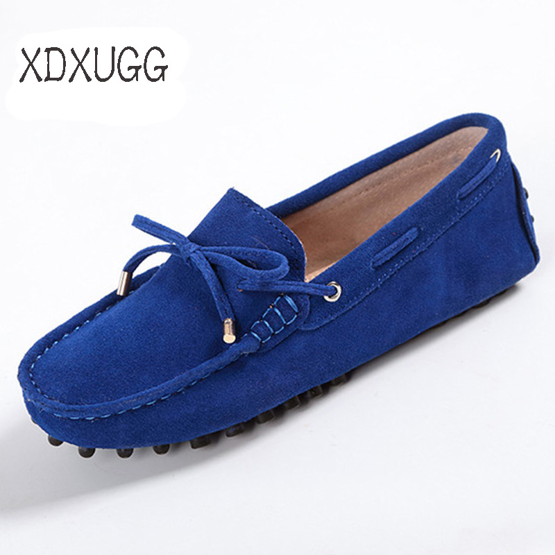 Women Shoes Spring Autumn 100% Genuine Leather Women Flat Shoes Handmade Flats Casual Loafers Lady Driving Shoes Soft Moccasins(China)