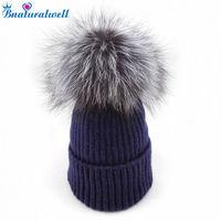 Kids Winter Fox Fur Hats 100 Real Fur Pom Pom Beanies Cap Natural Fur Hat For