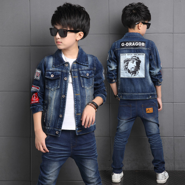 2017 Spring and Autumn Fashion Hot New Children Fashion Casual Classic Cowboy Set Boy Printed Letter Patch Self-Portrait 2-Pie