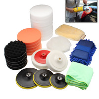 29Pcs/set Car Polishing Sponge Pad Waxing Polishing Wheel Wool Ball Tool Buffer Car Polisher Set Auto Maintain Care With Towel
