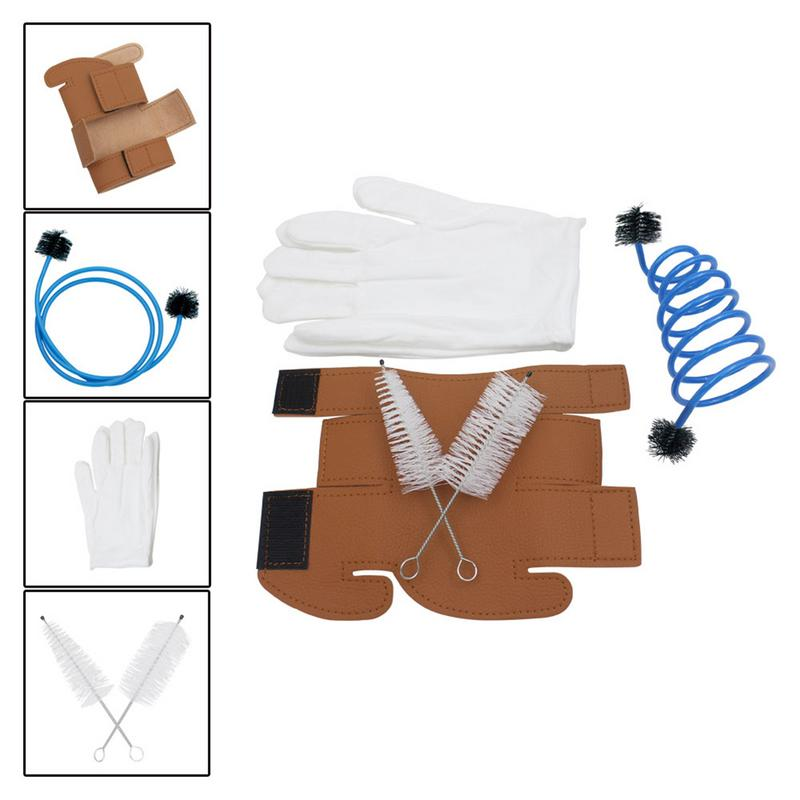 Professional 5 In 1 Trumpet Accessories Set Trumpet Gloves + Cleaning Brush Kit + Synthetic Leather Protective Cover Case