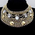 Fashion Boho Style Exaggerated Multilevel Chain Statement Necklaces Women Evening Dress Jewelry Choker Free Shipping 2015