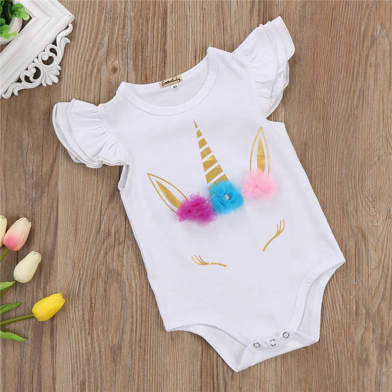 f768cfc7999 ... Lovely Newborn Infant Romper Kids Baby Girl Unicorn Romper Clothes Long  Sleeve Ruffles Jumpsuits Clothes 2017