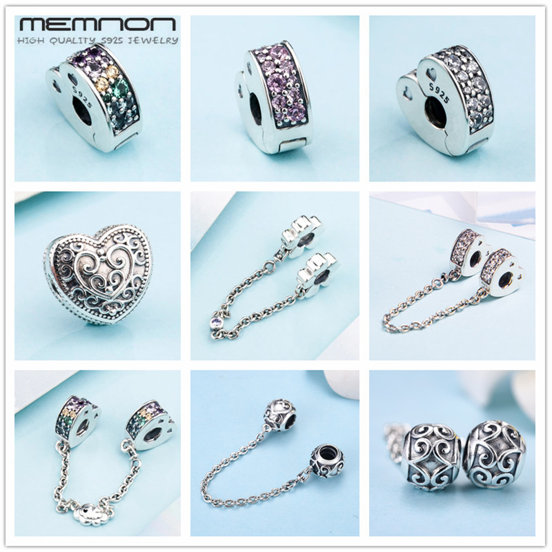 Memnon new spring Multi-Colored Arcs Of Love safety chain charms fit 925 sterling silver bracelets DIY silver clips beads KT091Memnon new spring Multi-Colored Arcs Of Love safety chain charms fit 925 sterling silver bracelets DIY silver clips beads KT091