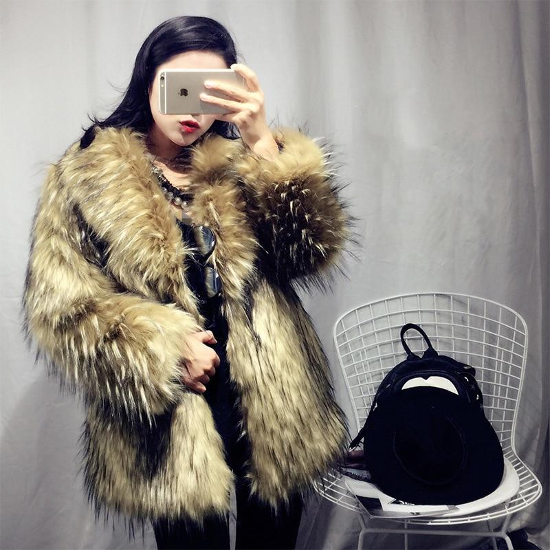S Imitation Ratons Laine Kaki Haute Tricoté De Laveurs 6xl Modes D'hiver Manteau Fourrure Vêtements Renard Femmes Nouveaux IwqTBI1r
