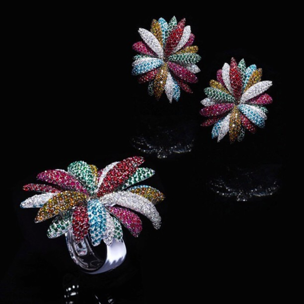 GODKI Newest Famous Brand Luxury Fireworks Daisy Flower Cubic Zironia CZ Jewelry Sets For Women Wedding