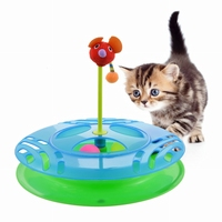 Hoomall Cute Funny Pet Toys Tower Of Tracks Ball And Track Interactive Toy For Kitten Intelligence Triple Play Disc Cat Pet Tool