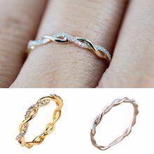 Moda Chique Simples Elegante dos Anéis Para Mulheres Anéis de Casamento bijoux Finas Cor de Rosa de Ouro Torção Empilhamento Corda #268734