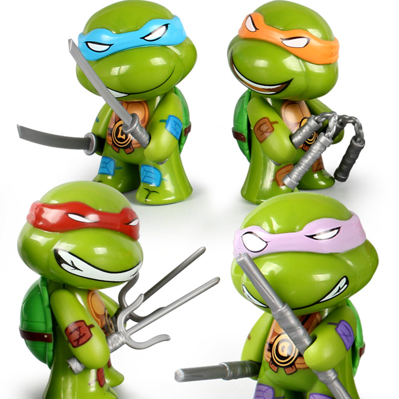 PVC Movie Real Action Version Q Version Ninja Tortoise 4 Toddlers Handheld Model Toys Can Move Car Pendulum for Children's Gift